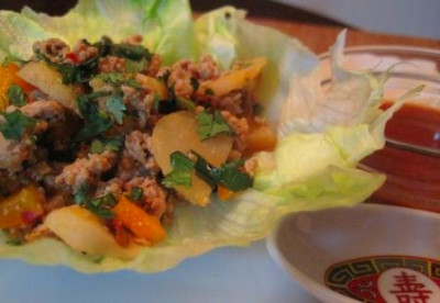 ASIAN CHICKEN LETTUCE WRAPS 1 lb ground chicken breast 1/2 red, orange ...