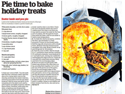 Easter lamb and pea pie - From The Age 15/3/2016. I'm just going to ...