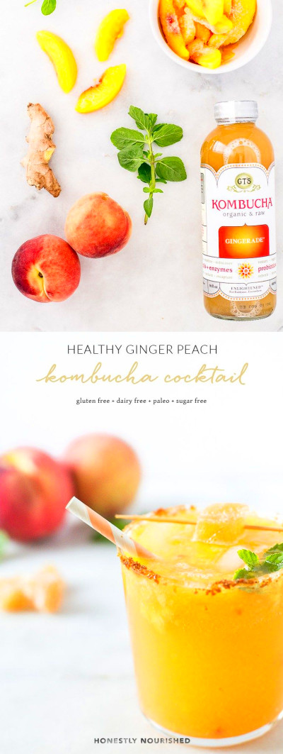 Healthy Ginger Peach Kombucha Mocktail & Cocktail | Recipe ...