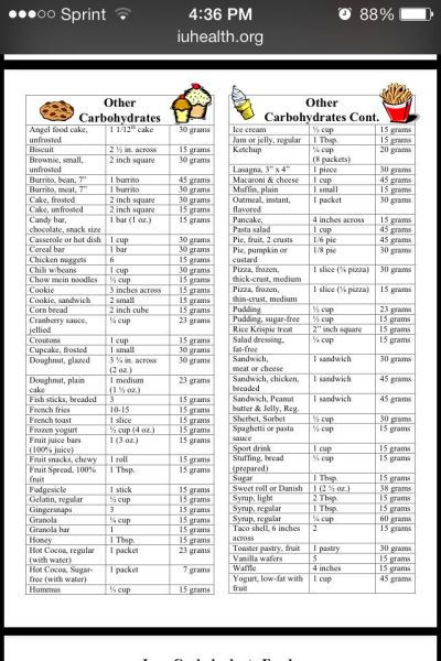 Diabetes Carbohydrate Counting Food List | Food