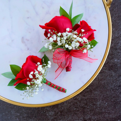 Classic Red Rose Boutonniere and Corsage Pack | FiftyFlowers