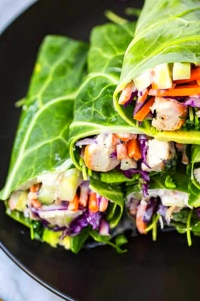 Low Carb Garlic Chicken Collard Wraps | The Girl on Bloor