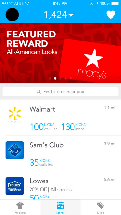 app that rewards you for walking into stores yes all you have to do to