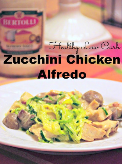 Low Carb Pasta Zucchini Chicken Alfredo - We Got The Funk