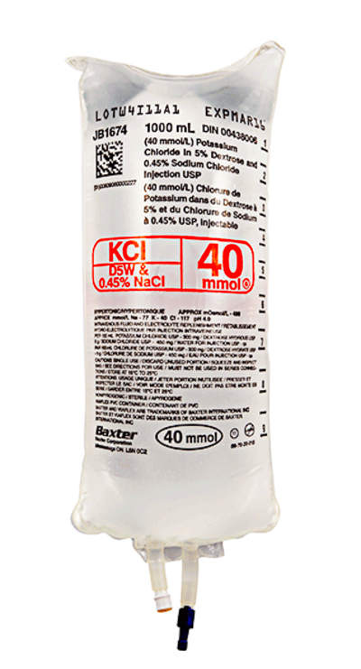 40 mmol KCl in Dextrose 5% and NaCl 0.45% Injection | Dufort et Lavigne