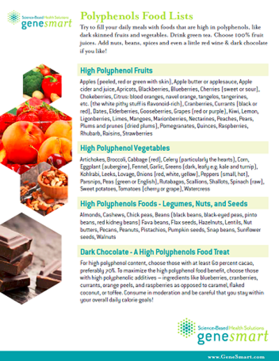 downloadable guide to high polyphenols foods polyphenols sources