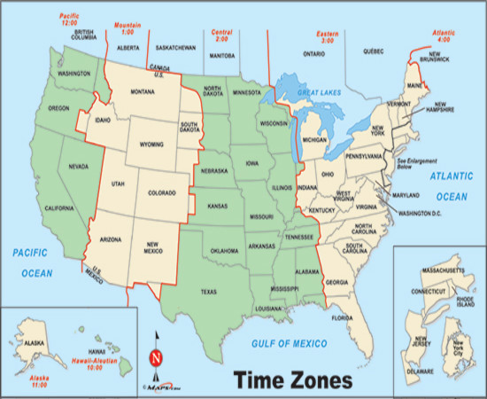 Map Of Usa Time Zones Printable - Us time zone map
