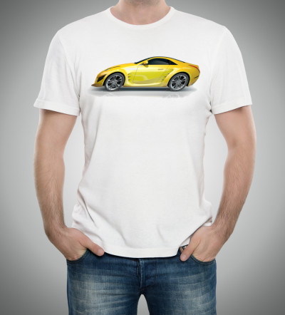 t-shirt with car 'sheared' by 20 degrees