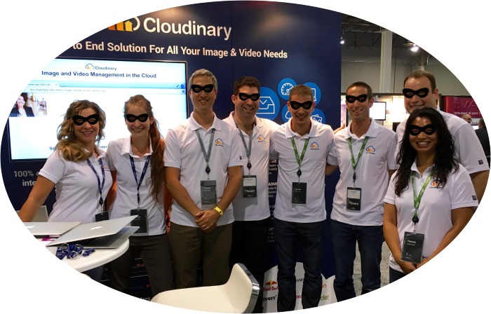 Cloudinary team with masks