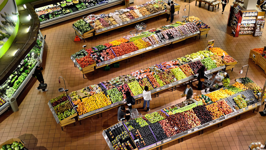 Supermarket with fruits and vegetable