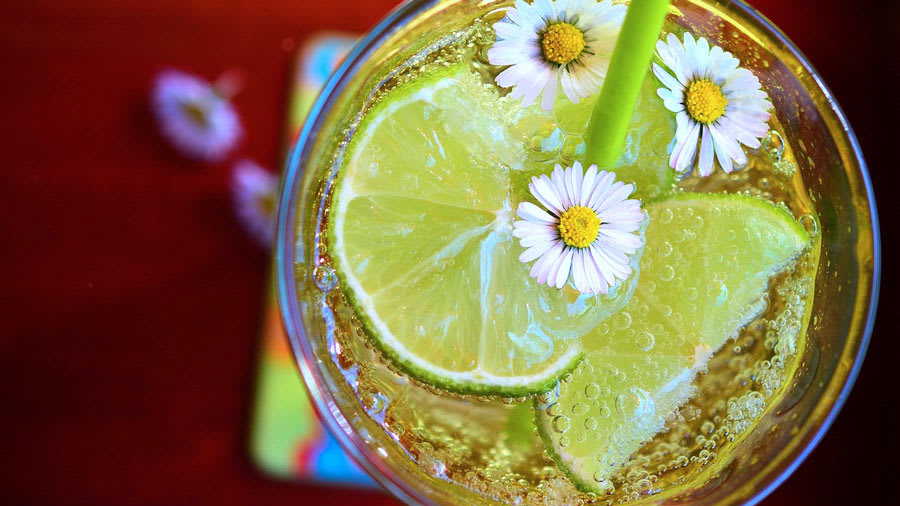 Carbonated water with slices of limes and flowers on red table
