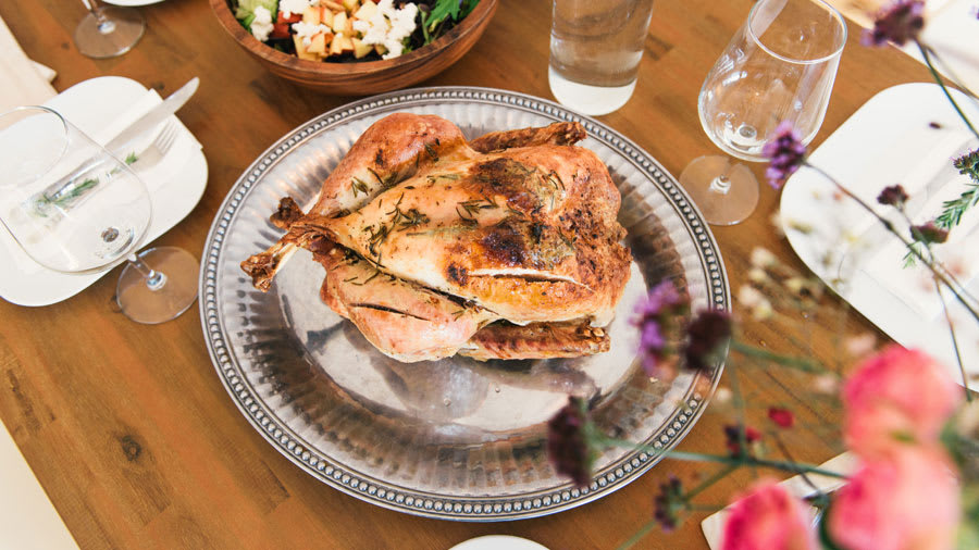 Thanksgiving dinner with skin-healthy dishes