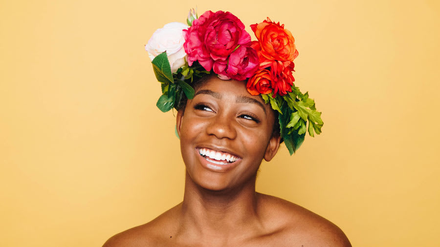 Smiling woman with flower crown