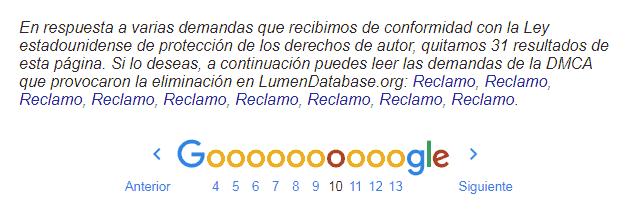 Asi aparecen los resultados excluidos de google