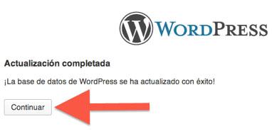 Mensaje tras regresar a una versión anterior de WordPress