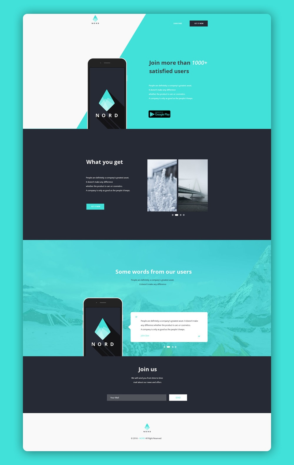 Nord Simple App Landing One Page Template Designshotz