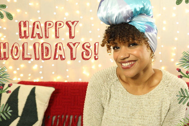 Curly Holiday Hairstyle with Head Scarf - Featured Hero Image