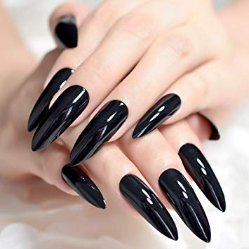 Long black fake nails