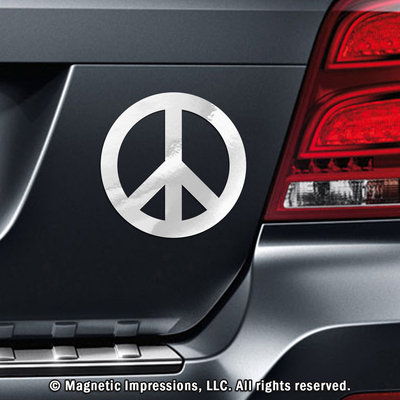 Hot pink peace sign car magnet