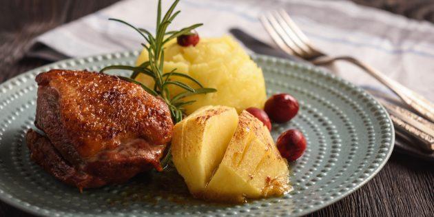 Рецепты утки в духовке: Как приготовить утиную грудку с яблоками