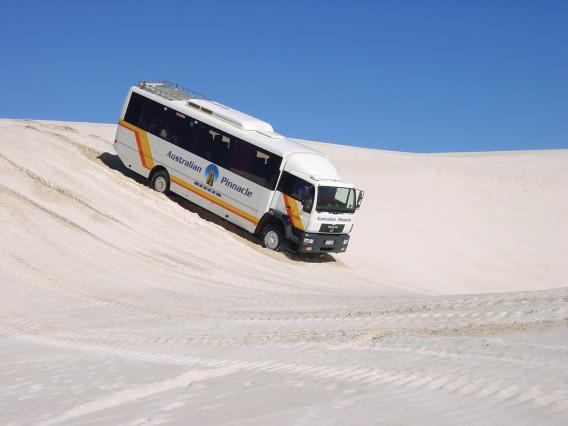 砂丘の上を4WDのバスで爆走