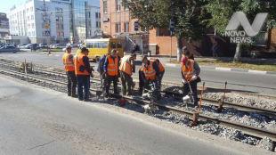 50 метров трамвайных путей осталось заменить на улице Радищева