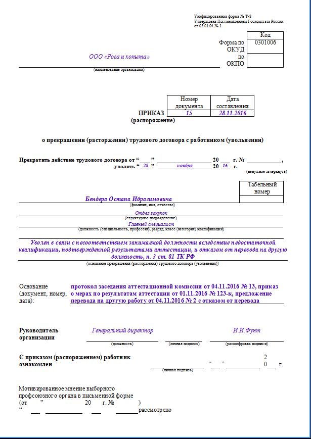 Увольнение в связи с несоответствием занимаемой должности