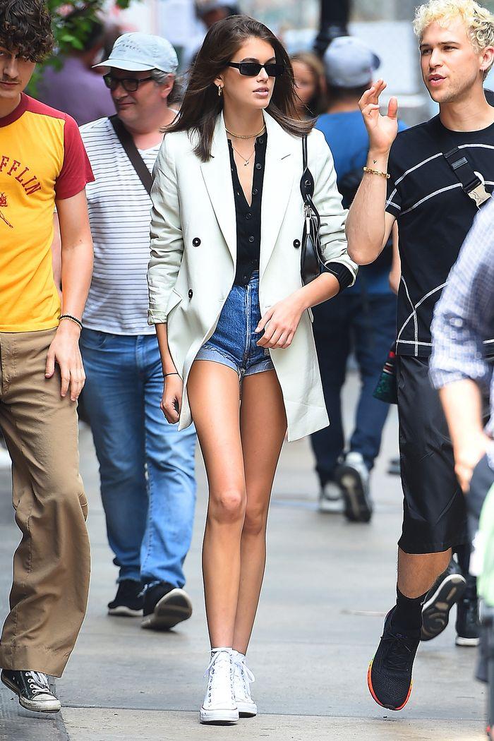 Celebrities in denim shorts