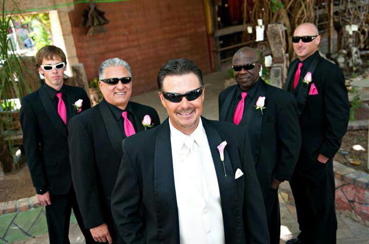 Hot pink groomsmen