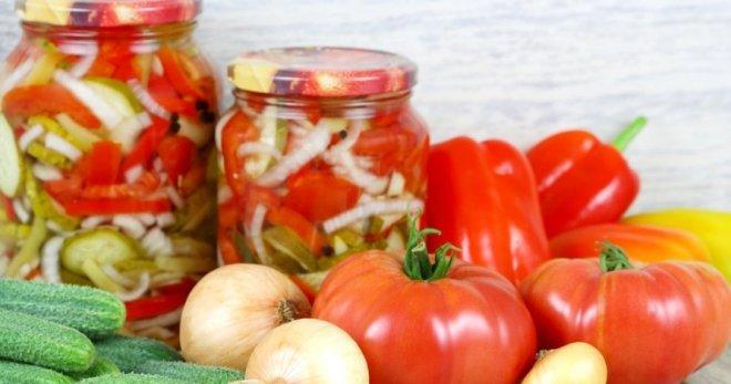 Салат на зиму с перцем капустой помидорами и огурцами
