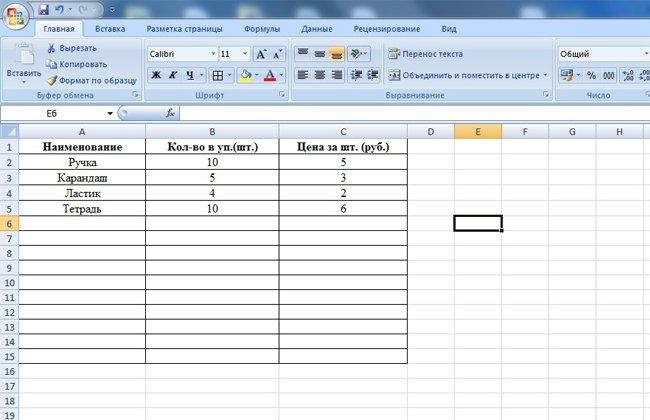 Таблица для прайс листа