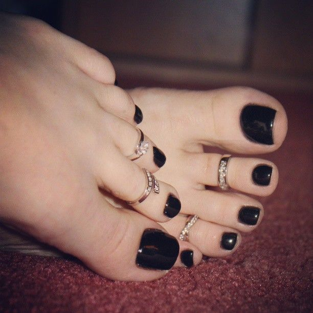 Black painted toe nails