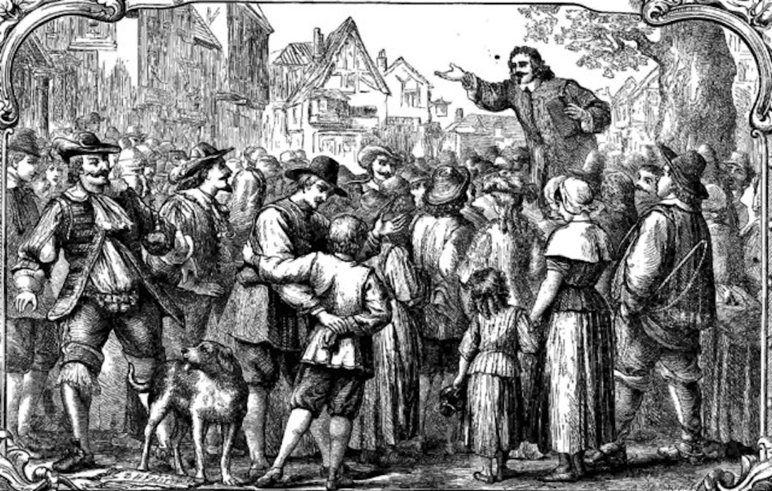 John Bunyan street preaching in the mid 1600's