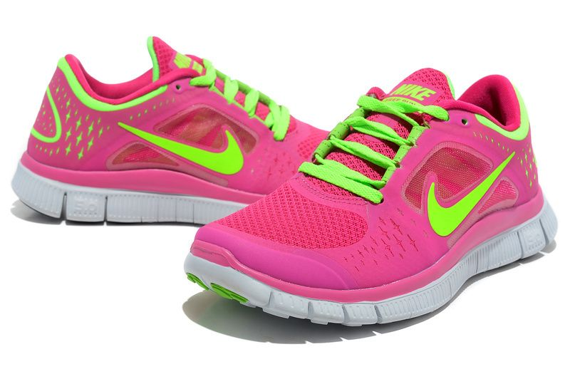 Pink and green nike free