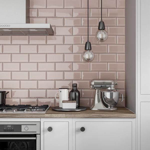Pink wall tiles kitchen