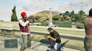 GTA 5 Franklin Michael And Trevor Five Star Escape From The OBSERVATORY 19