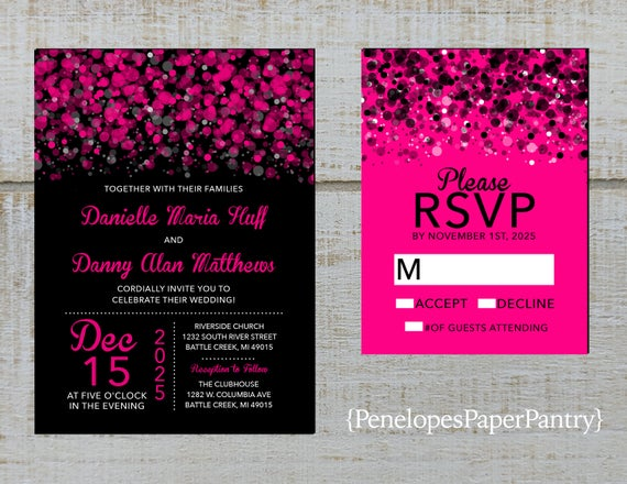 Black white and hot pink wedding invitations