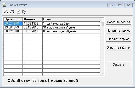 Калькулятор общего стажа работы по трудовой книжке