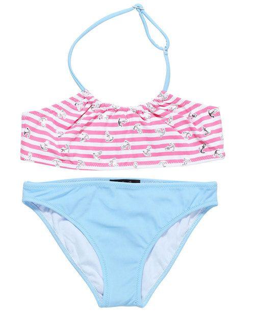 Pink striped bikini with anchor