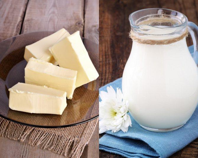 Молоко и сливочное масло