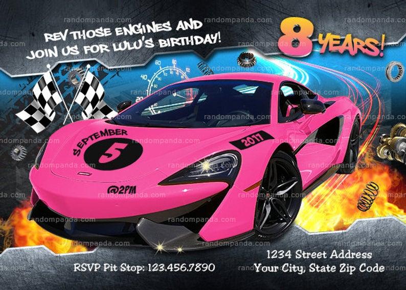Hot pink race car