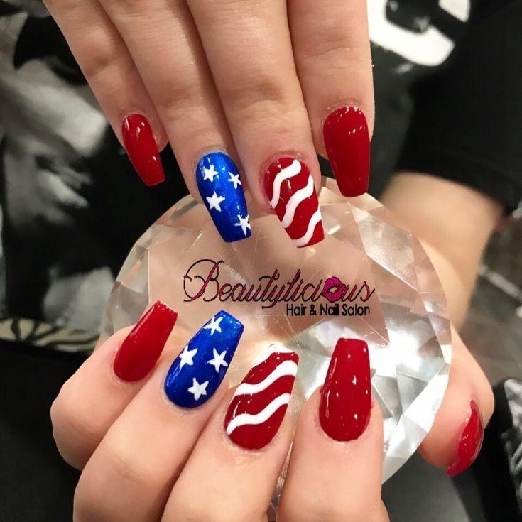 American flag acrylic nails
