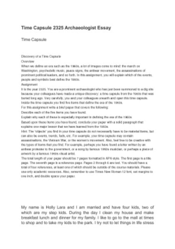 essay about time capsule
