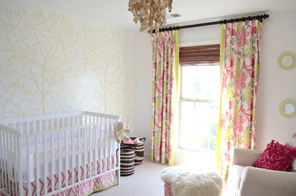 Pink and green girl nursery