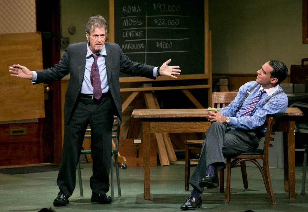 <strong>Glengarry Glen Ross </strong> Al Pacino, left, and Bobby Cannavale in a Broadway revival of David Mamet&rsquo;s play, directed by Daniel Sullivan, at the Schoenfeld Theater.