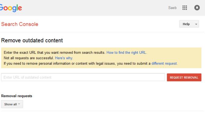 حذف رکورد از جستجو های گوگل