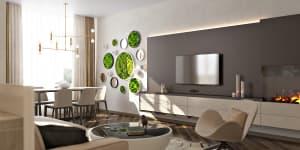 Дизайн интерьера гостиной в бежевых цветах