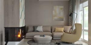 кофейные стены к гостиной  фото