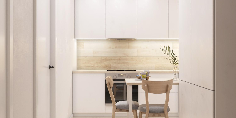 Белая маленькая кухня фото