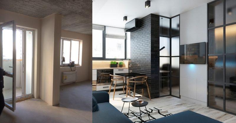 Дизайн однокомнатной квартиры в Киеве.  Гостиная фото до и после
